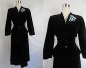 1950's Vintage Black Velvet Suit with Blue Flowers