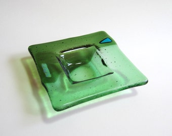 Fused Glass Dish - Olive and Spring Green Fused Glass - Trinket Dish - Ring Dish - Glass Bowl with Dichroic Glass Accents