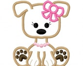 Digitizing Dolls Girly Girl Bow Puppy Dog Applique Machine Embroidery Design 4x4 5x7 6x10 INSTANT DOWNLOAD