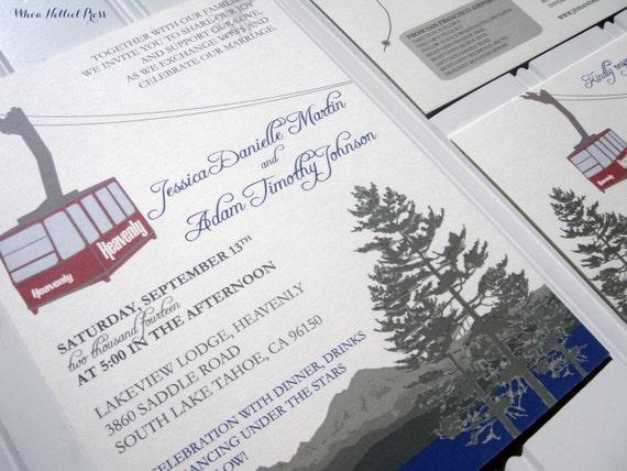 Heavenly Mountain Tram Lake Tahoe Ski Wedding Invitations