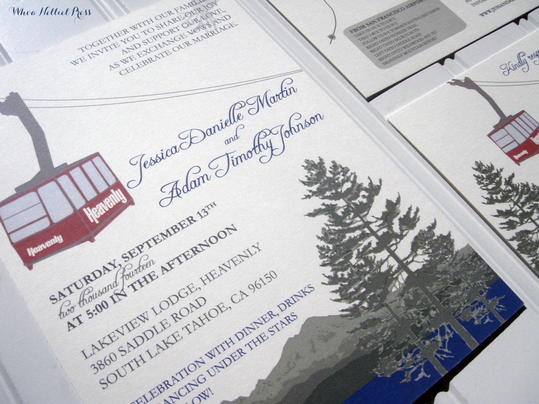 Lake Themed Wedding Invitations: Heavenly Mountain Tram Lake Tahoe Ski Wedding Invitations