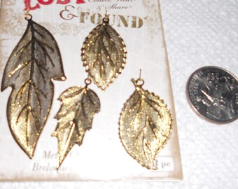 gold plated leaves set of 4