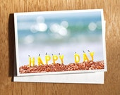 Happy Day Card, Birthday Card, Candles on the Beach Card, Quirky Happy Day Birthday Candles Card, Yellow Candles