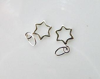 2 pcs Sterling silverl Star cutout charm,(7x10mm)