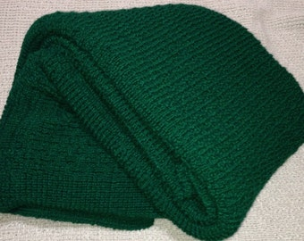 """Afghan, Throw Blanket, Knitted, """"Forest Green"""""""