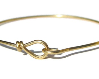 10k Hook & Eye Bangle Bracelet Solid Yellow Gold Add a Charm or Bead Custom Made in Your Size