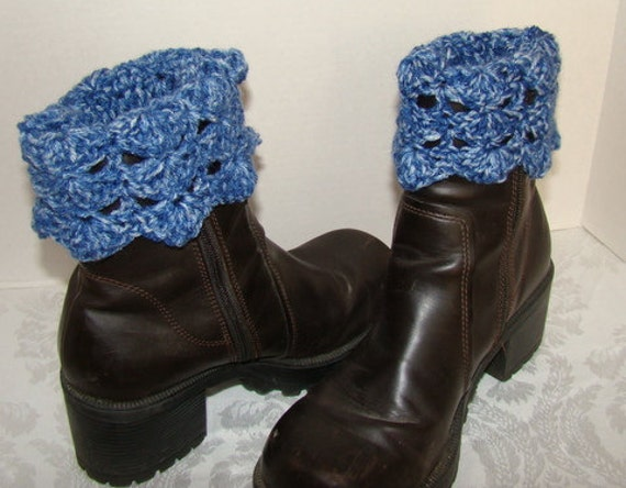 Hand crochet boot cuffs in brilliant blue and black with scallop edging