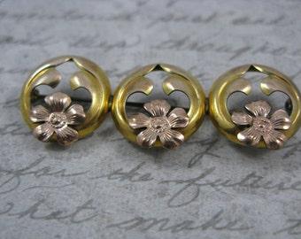SALE Vintage Two-tone Gold Filled Floral Brooch