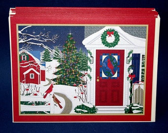 TEN Christmas cards, original design, country snow scene, winter, Americana, blank inside, 100% PC recycled paper,