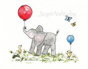 Elephant Nursery Art, Elephant with Balloon, Children's Wall Art, Elephant Children's Art, nursery wall art, nursery decor, children's art