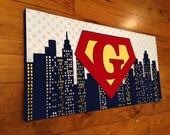 large personalized custom painting to match your child's decor- superhero- navy blue skyline- superman batman captain america