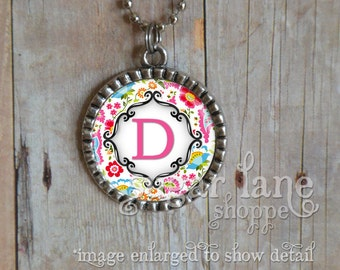 Monogram Initial Bezel Necklace (Bright Floral Damask - Red, Pink, Aqua, Blue, Green, Orange) - Chain Included