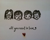 Fab Four Cards, Music Lover Cards, Handstamped Blank Love Cards, Set of 4 Notecards, Wedding Thank you Cards