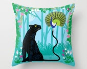Reserved listing for Calvin - The Peacock and The Panther - 16 x 16 - Throw pillow cover with insert.