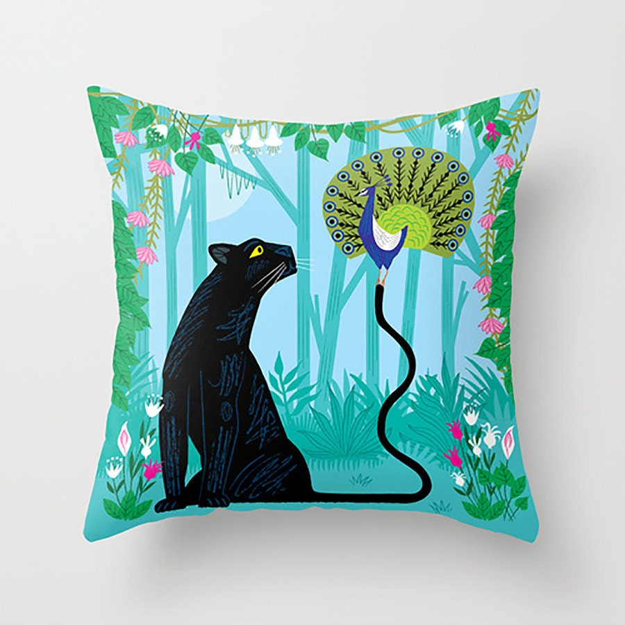 Throw Pillow Peacock : The Peacock and The Panther Throw Pillow / by iotaillustration