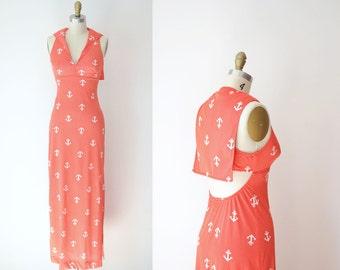 1970s Nautical Maxi Dress / 70s Sailor Anchor Red Dress