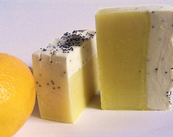 6 Lemon Bar Soaps with poppyseed. Each nicely gift wrapped Made with plenty of Lemon essential oil.  Vegan Friendly