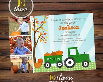 Pumpkin Patch Birthday Party Invitation - Tractor Birthday Invitation - Fall First Birthday Party Invite - Photo Card