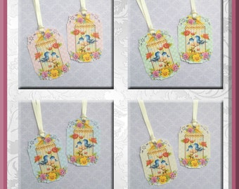 Vintage Cute Birds In Bird Cage Gift Tags set of 8 #590 (opposites)