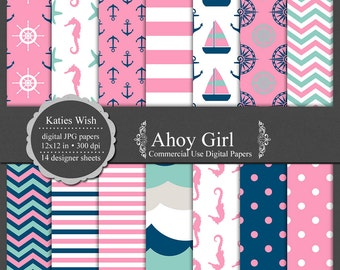 Nautical digital paper kit Ahoy Girl commercial use ok instant download file for digital scrapbooking, invites, card making