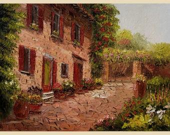 Original Oil painting on canvas Tuscany Italian Palette Knife impasto Large painting Sunny Flowers Villa Hill Yard Colorful ART Marchella