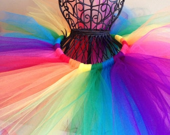 Bright Rainbow Tutu with Hot Pink