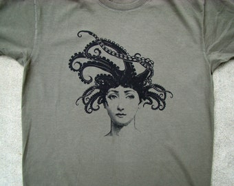 Octopus Lady T shirt - American Apparel Power Wash Tee - XS,S,M,L,XL, 2XL (6 color choices)