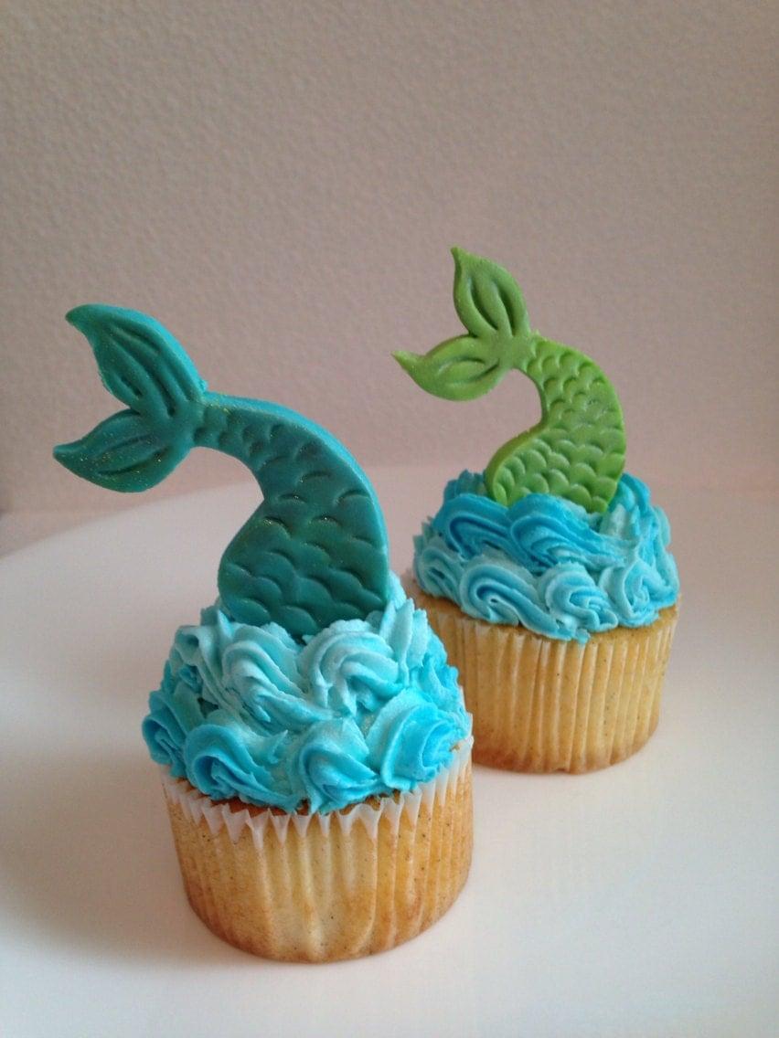 Mermaid Tail Fondant Cupcake Topper one dozen