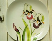 "Beautiful Red Wing Iris Dinner Plate Mid Century Modern Concord Shape 10.5"""