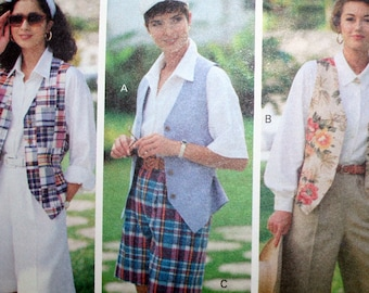 Vintage Shirt Vest and Shorts Sewing Pattern Easy Butterick 6219 Size 12 14 16 UNCUT