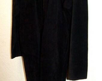 Black suede vintage coat