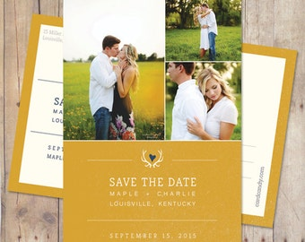 Rustic Save The Date Postcard, Country Save The Date - Antlers