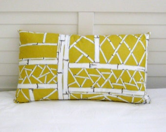 Yellow Bamboo Lattice by Bob Collins and Sons (On Both Sides) 12 x 20 Designer Lumbar Pillow Cover