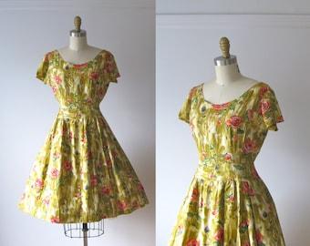vintage 1950s dress / 50s dress / Rose Garden