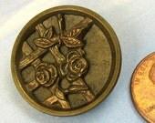 Antique Button Rose Victorian Button Floral Brass Button Picture Button 313 vsb *