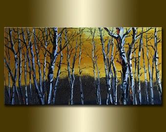 Birch Forest Tree Seasons Landscape Oil Painting Textured Palette Knife Original Art 15X30 by Willson Lau