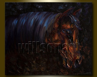 Horse Modern Oil Painting Horse Head Portrait Textured Palette Knife Original Animal Art 20X24 by Willson Lau
