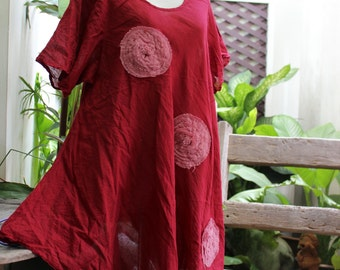 L-XXL Roomy A-Shape Tunic - Short Sleeves - Red Wine
