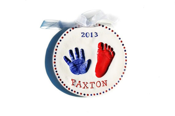 Infant  hand and foot print 4th of July print  Mold included / Baby Gift / Personalized