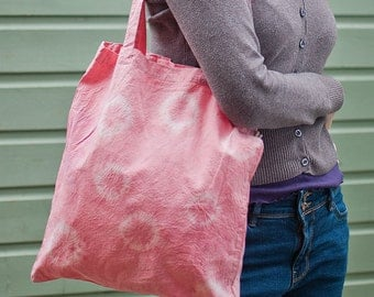 Pale pink tie dye organic cotton tote bag