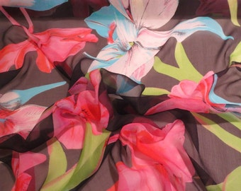 Huge Floral Print Pure Silk Crinkle Chiffon Fabric--One Yard