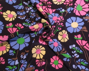Colorful Floral on Midnight Blue Print Pure Silk Crepe de Chine Fabric--One Yard