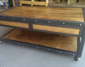 industrial coffee table etsy. Black Bedroom Furniture Sets. Home Design Ideas