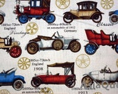 "Vintage cars history - half yard - cotton linen, car fabric, sewing, Check out with code ""5YEAR"" to save 20% off"