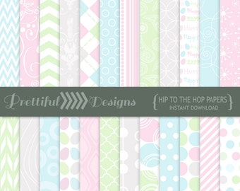 Digital Easter Scrapbooking Printable Pattern Pastel Paper Pack Instant Download Hip to the Hop
