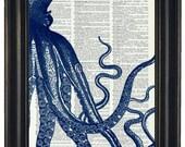 BOGO 1/2 OFF Sale Steampunk Blue Octopus Print  Dictionary Print Dictionary Art Print  Picture Wall Decor Octopus Illustrations Octopus Art