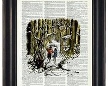 BOGO SALE Upcycled Art Narnia Print on Vintage Dictionary Page Page Prints Nursery Decor