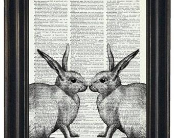 BOGO SALE Rabbit Dictionary Art Print Rabbit Couple Wall Decor Dictionary Print Book Page Print
