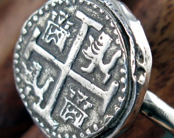 Spanish Piece of Eight (Reproduction) Coin Ring - Sterling Silver - Free Domestic Shipping to US
