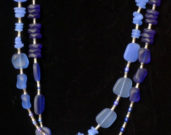 Long Light and Dark Blue Sea Glass, Pearl and Silver Necklace with Earrings
